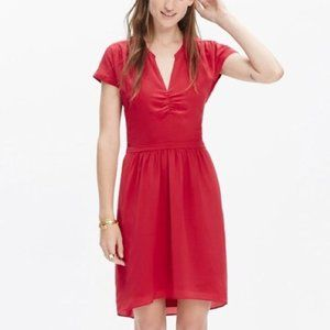 Madewell Silk Fable V-Neck Cinched Dress Red Sz S